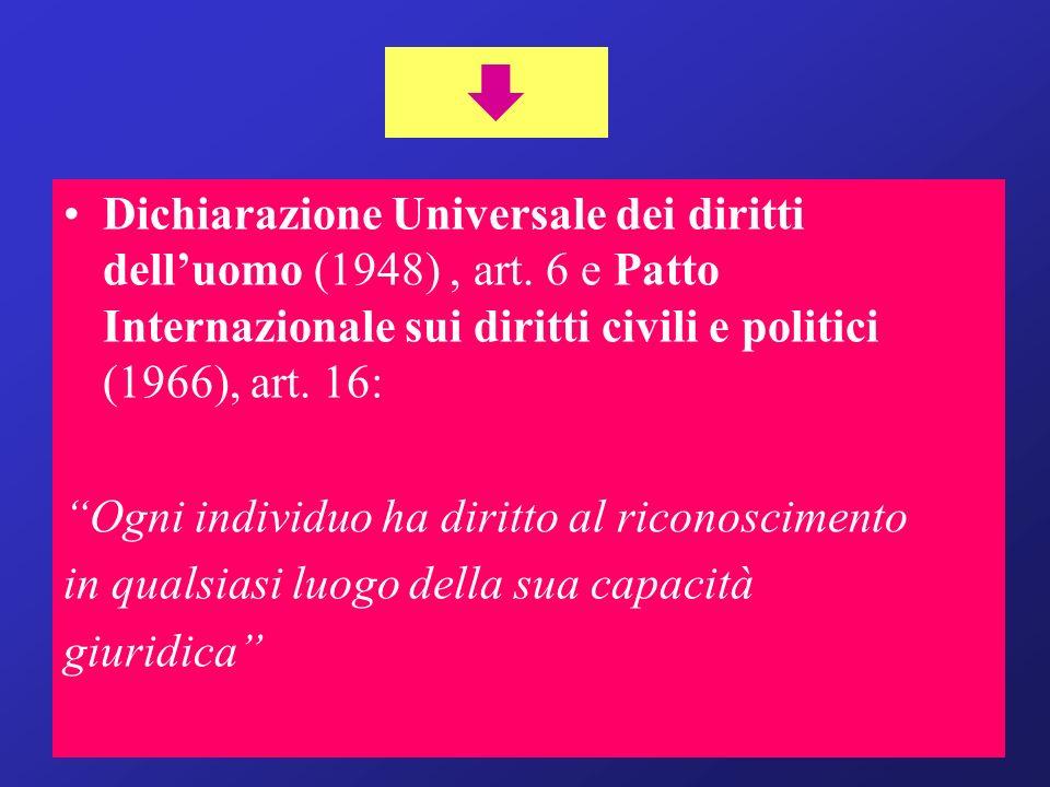  Dichiarazione Universale dei diritti dell'uomo (1948) , art. 6 e Patto Internazionale sui diritti civili e politici (1966), art. 16: