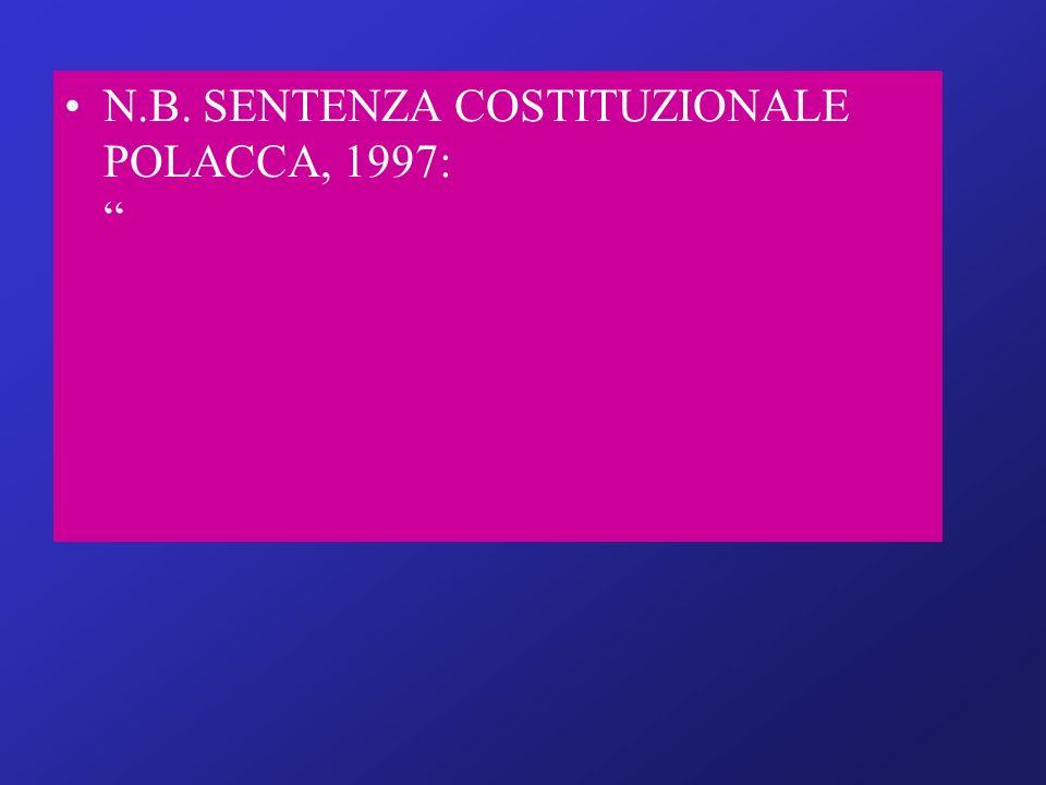 N.B. SENTENZA COSTITUZIONALE POLACCA, 1997: