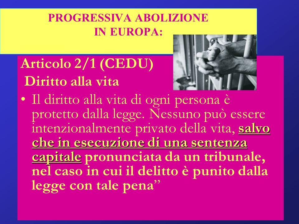 PROGRESSIVA ABOLIZIONE IN EUROPA: