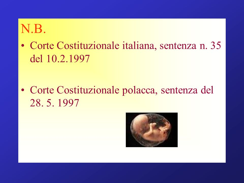 N.B. Corte Costituzionale italiana, sentenza n. 35 del 10.2.1997