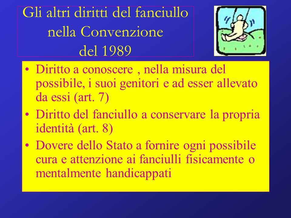 Gli altri diritti del fanciullo nella Convenzione del 1989