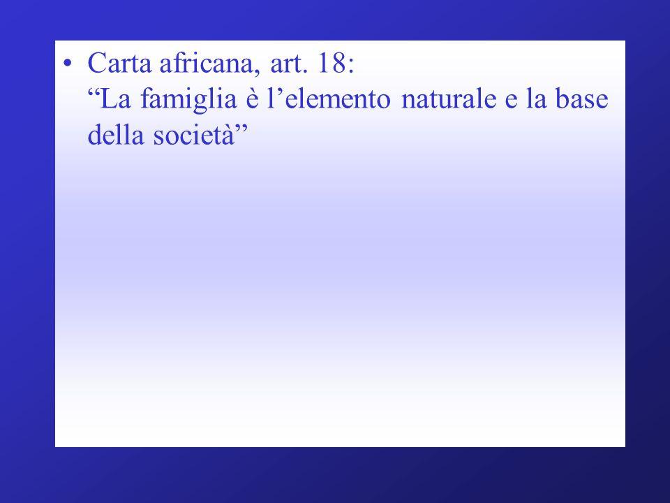 Carta africana, art. 18: La famiglia è l'elemento naturale e la base della società