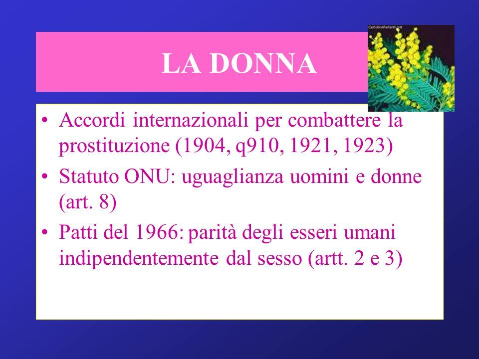 LA DONNA Accordi internazionali per combattere la prostituzione (1904, q910, 1921, 1923) Statuto ONU: uguaglianza uomini e donne (art. 8)