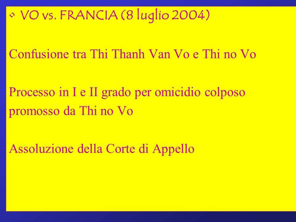 VO vs. FRANCIA (8 luglio 2004) Confusione tra Thi Thanh Van Vo e Thi no Vo. Processo in I e II grado per omicidio colposo.