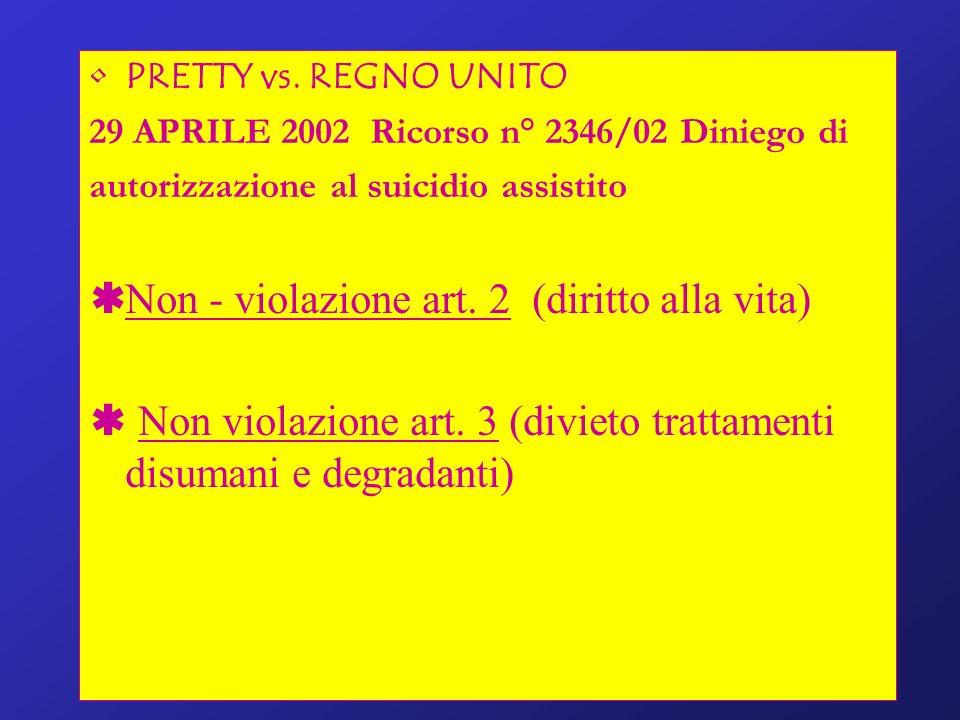 Non - violazione art. 2 (diritto alla vita)