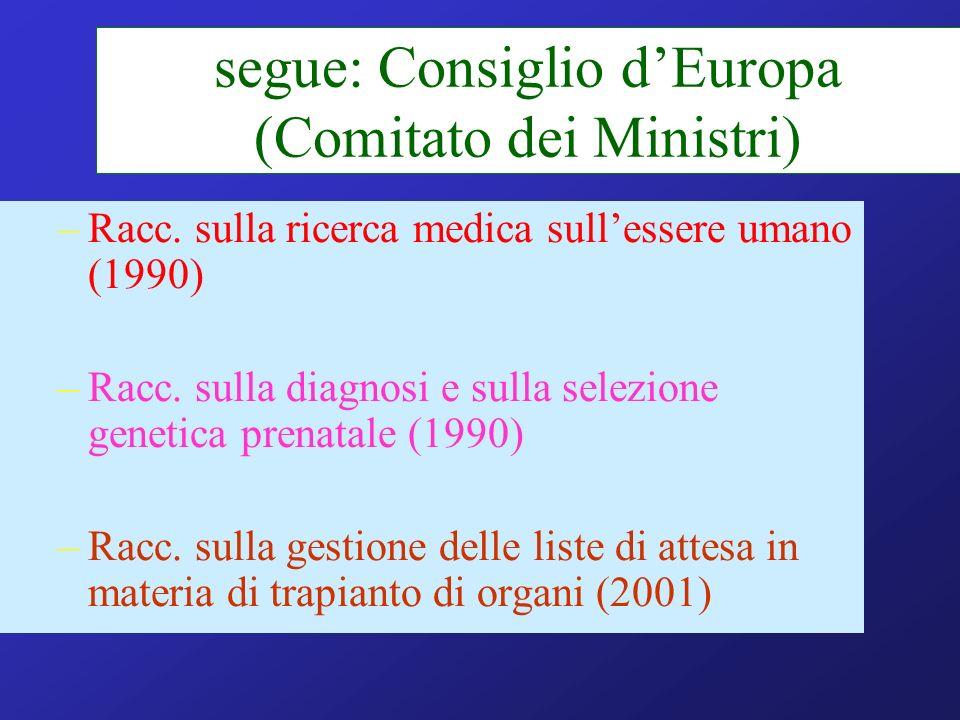 segue: Consiglio d'Europa (Comitato dei Ministri)