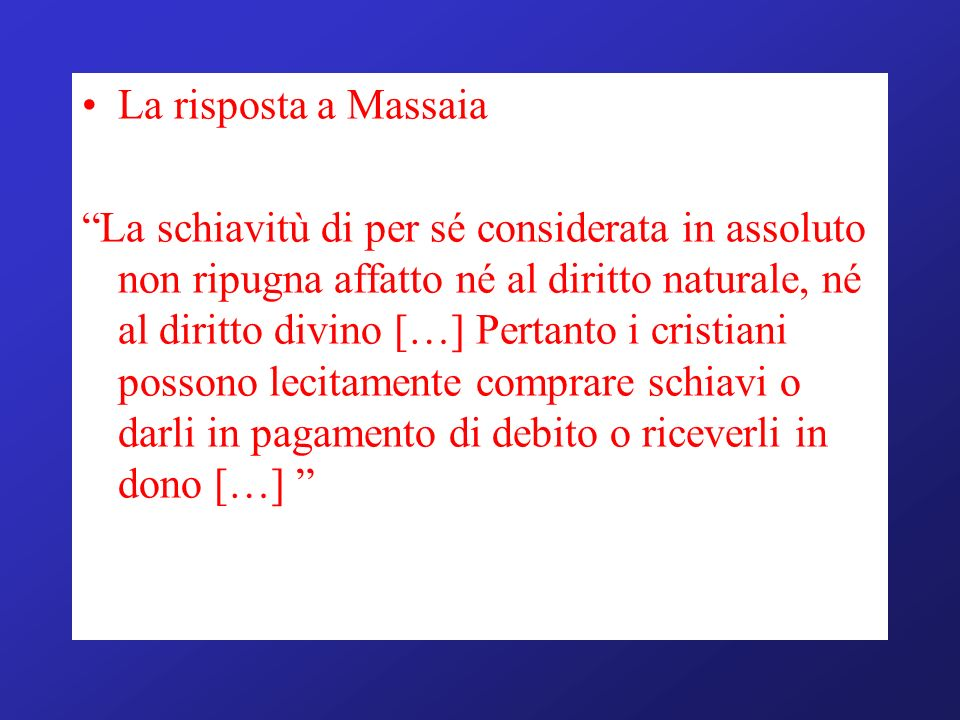 La risposta a Massaia