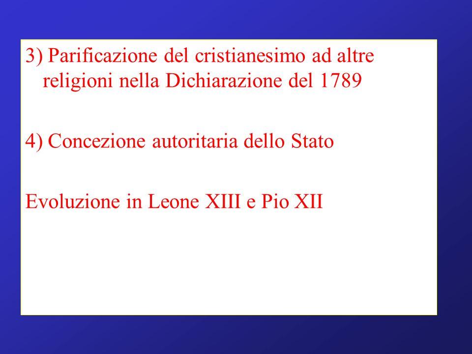 3) Parificazione del cristianesimo ad altre religioni nella Dichiarazione del 1789