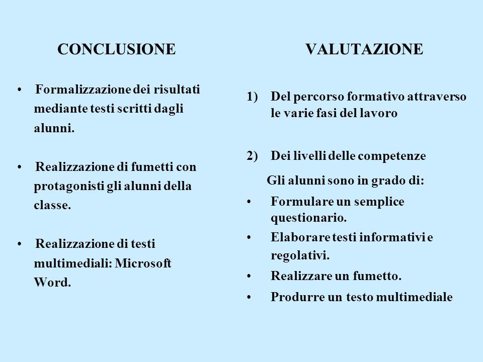 CONCLUSIONE VALUTAZIONE