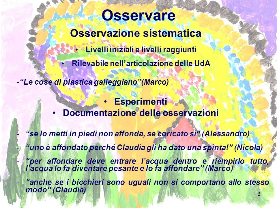 Osservare Osservazione sistematica Esperimenti