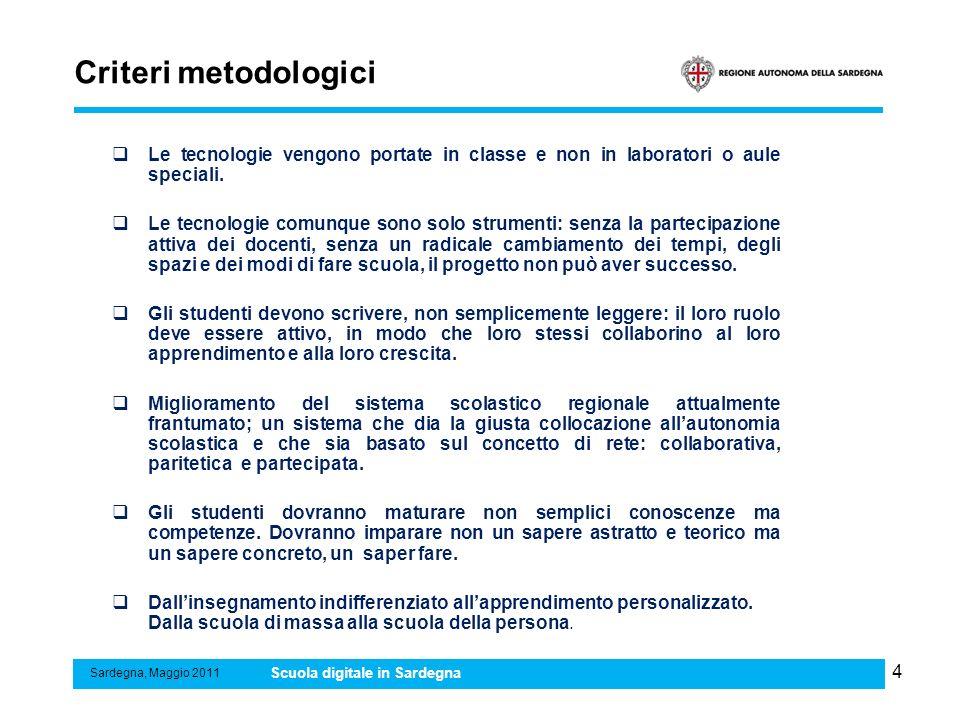 Criteri metodologici Le tecnologie vengono portate in classe e non in laboratori o aule speciali.