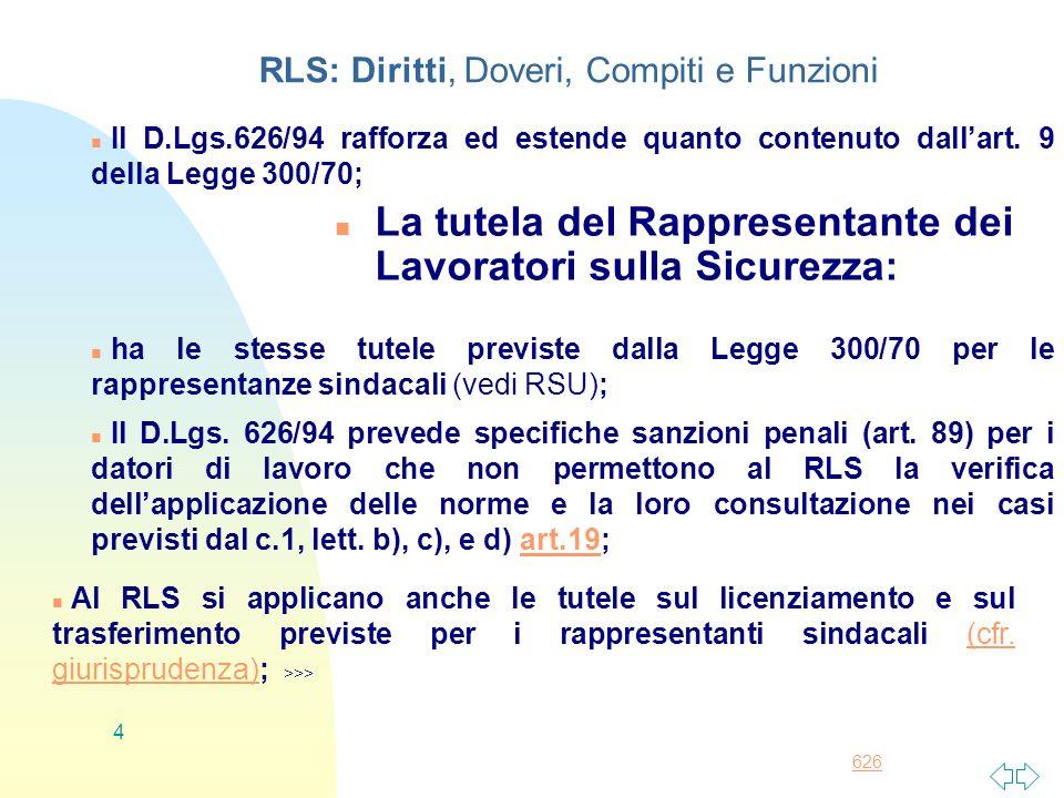 RLS: Diritti, Doveri, Compiti e Funzioni
