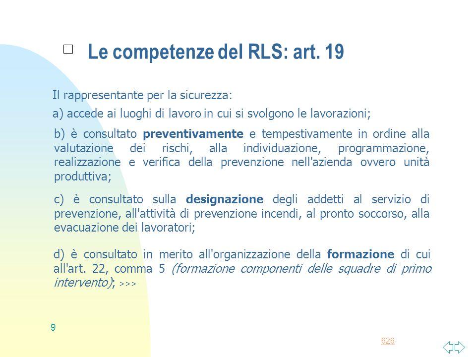 Le competenze del RLS: art. 19