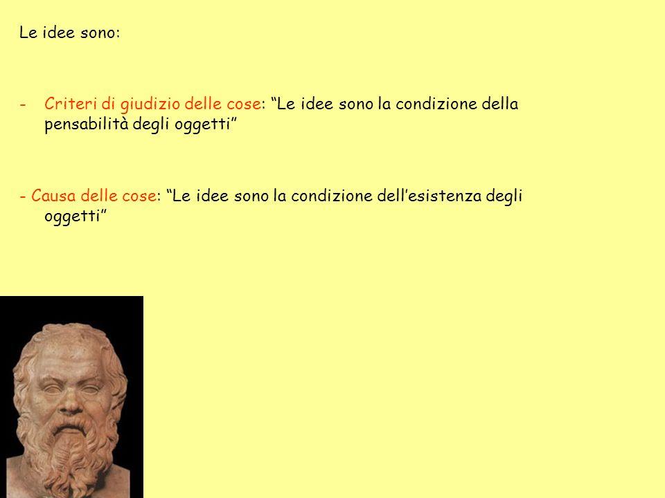 Le idee sono: Criteri di giudizio delle cose: Le idee sono la condizione della pensabilità degli oggetti