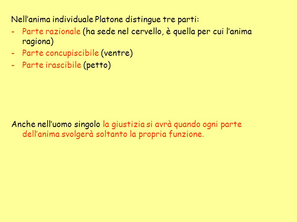 Nell'anima individuale Platone distingue tre parti: