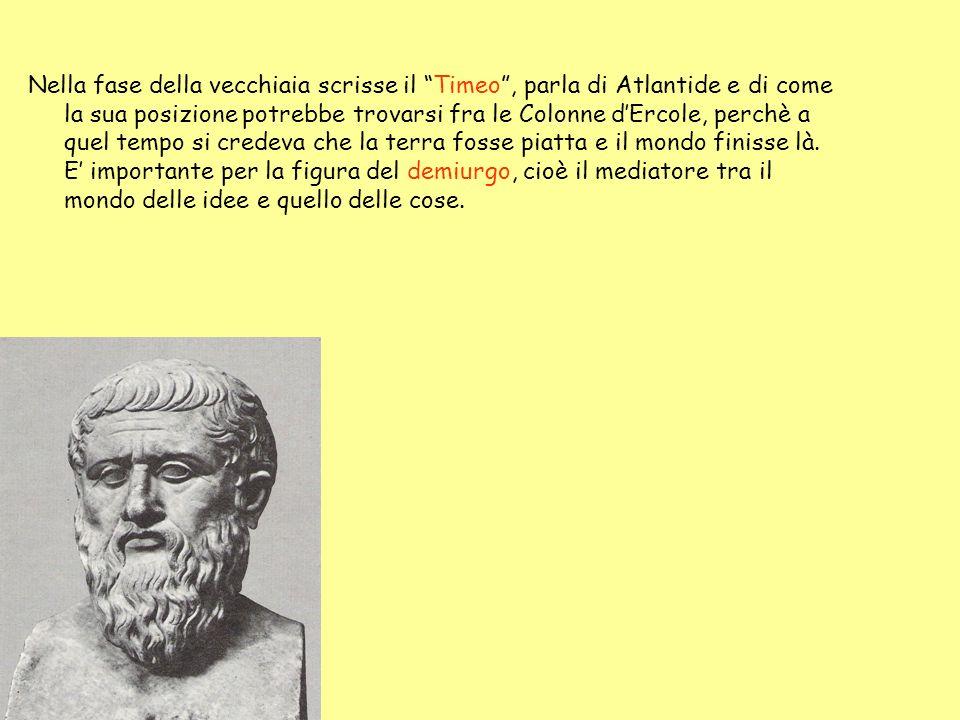 Nella fase della vecchiaia scrisse il Timeo , parla di Atlantide e di come la sua posizione potrebbe trovarsi fra le Colonne d'Ercole, perchè a quel tempo si credeva che la terra fosse piatta e il mondo finisse là.