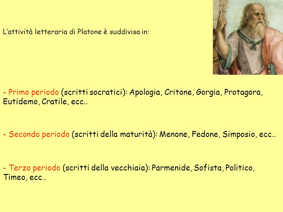 L'attività letteraria di Platone è suddivisa in: