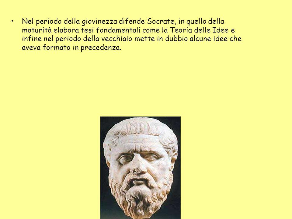 Nel periodo della giovinezza difende Socrate, in quello della maturità elabora tesi fondamentali come la Teoria delle Idee e infine nel periodo della vecchiaio mette in dubbio alcune idee che aveva formato in precedenza.