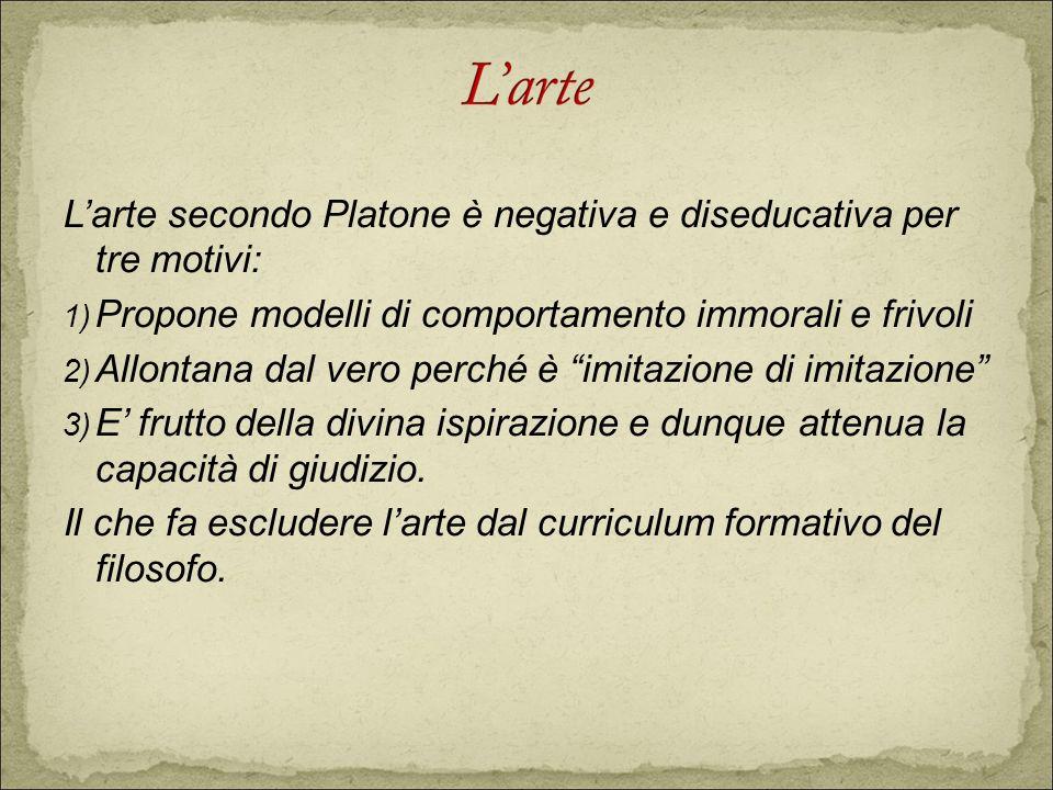 L'arte secondo Platone è negativa e diseducativa per tre motivi: