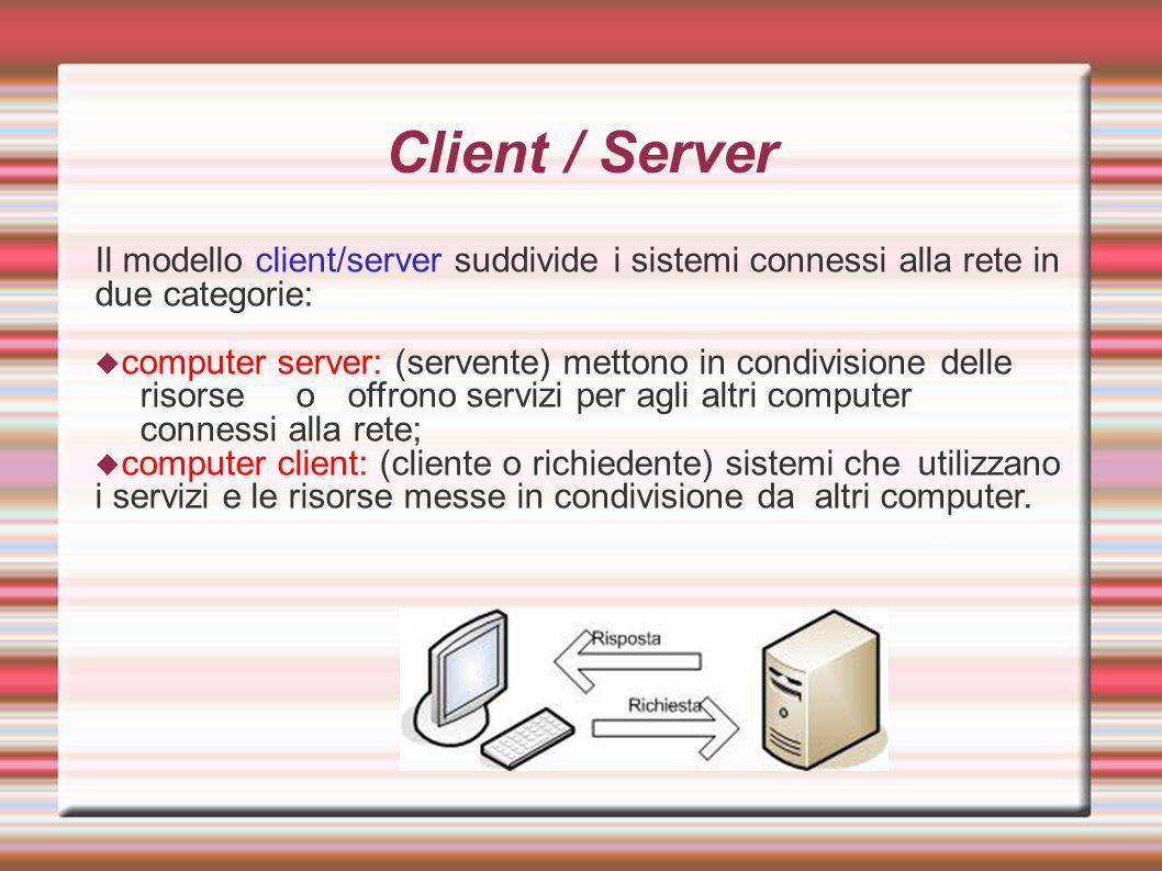Client / Server Il modello client/server suddivide i sistemi connessi alla rete in due categorie: