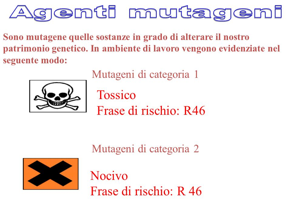 Agenti mutageni Tossico Frase di rischio: R46 Nocivo