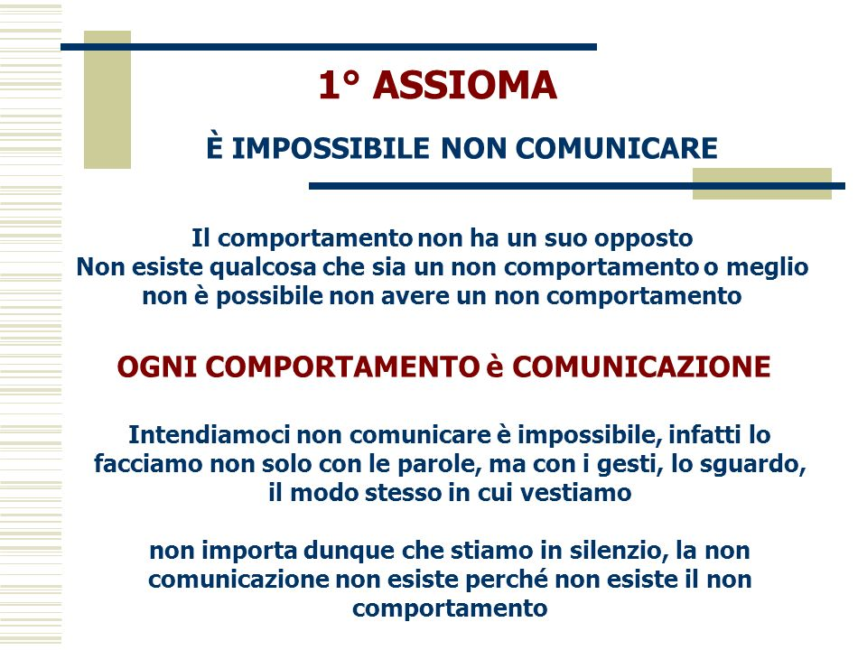 1° ASSIOMA È IMPOSSIBILE NON COMUNICARE