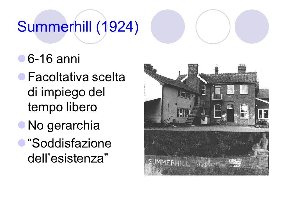 Summerhill (1924) 6-16 anni. Facoltativa scelta di impiego del tempo libero.