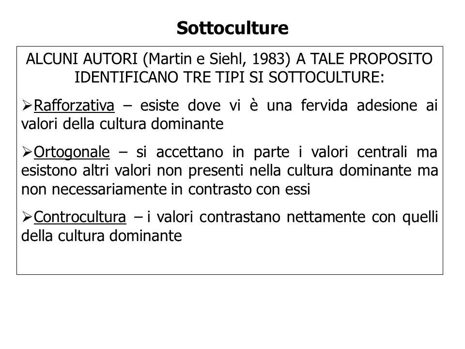 Sottoculture ALCUNI AUTORI (Martin e Siehl, 1983) A TALE PROPOSITO IDENTIFICANO TRE TIPI SI SOTTOCULTURE: