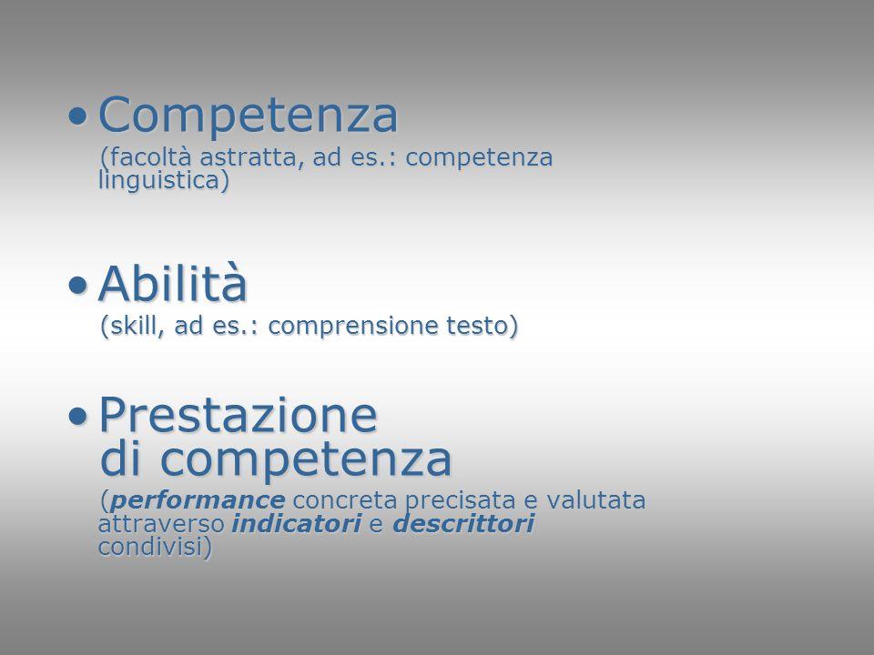 Competenza Abilità Prestazione di competenza