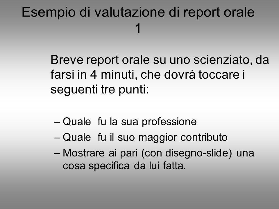 Esempio di valutazione di report orale 1