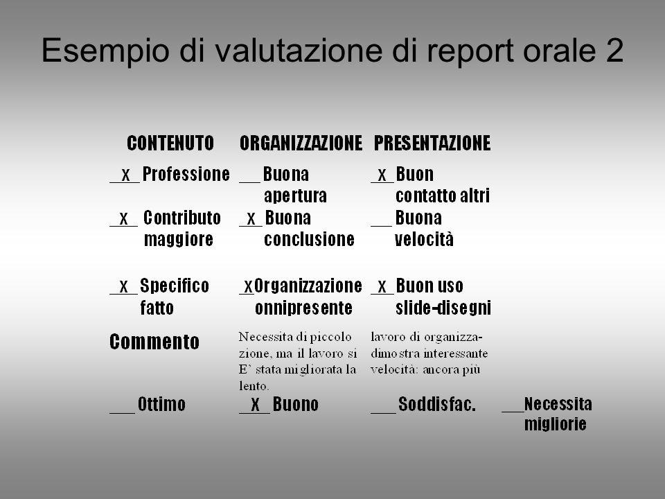Esempio di valutazione di report orale 2