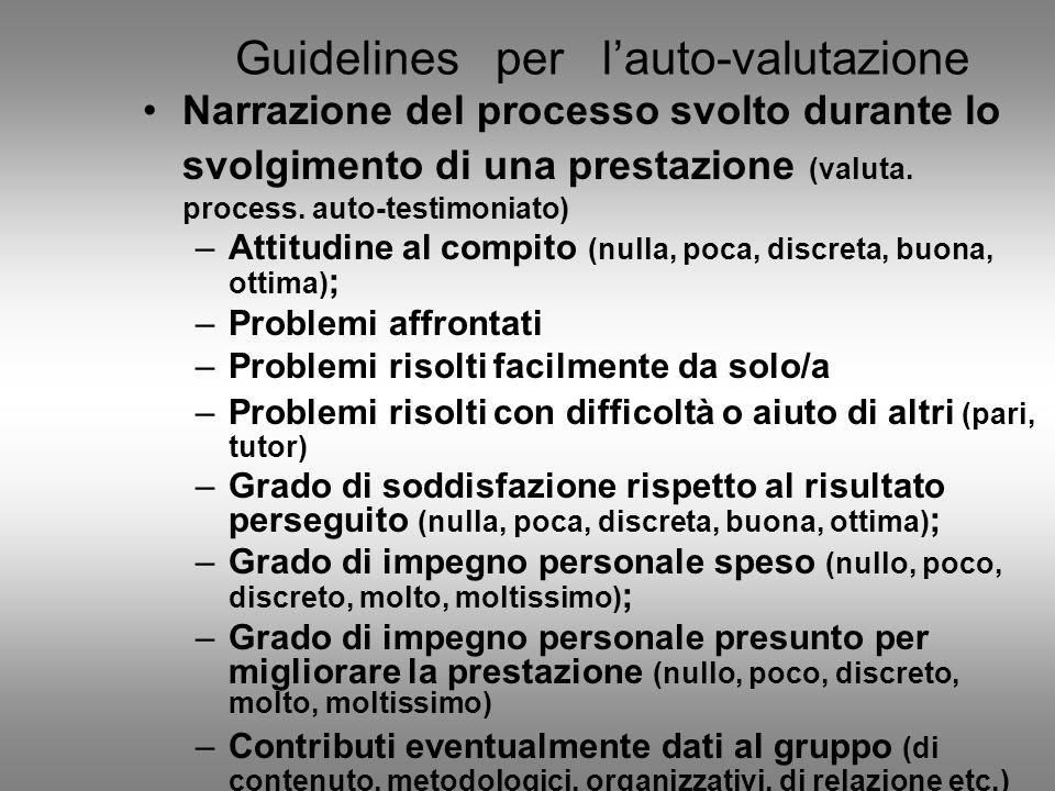 Guidelines per l'auto-valutazione