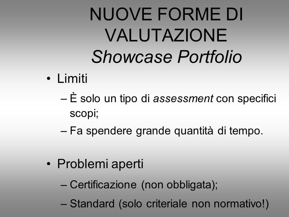 NUOVE FORME DI VALUTAZIONE Showcase Portfolio
