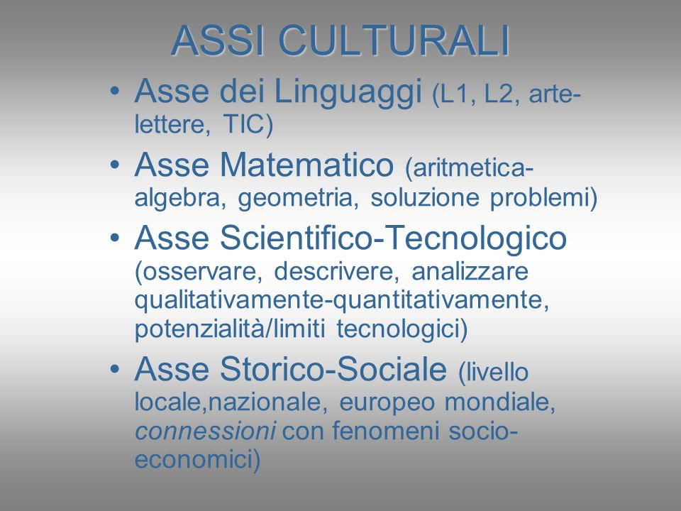 ASSI CULTURALI Asse dei Linguaggi (L1, L2, arte-lettere, TIC)
