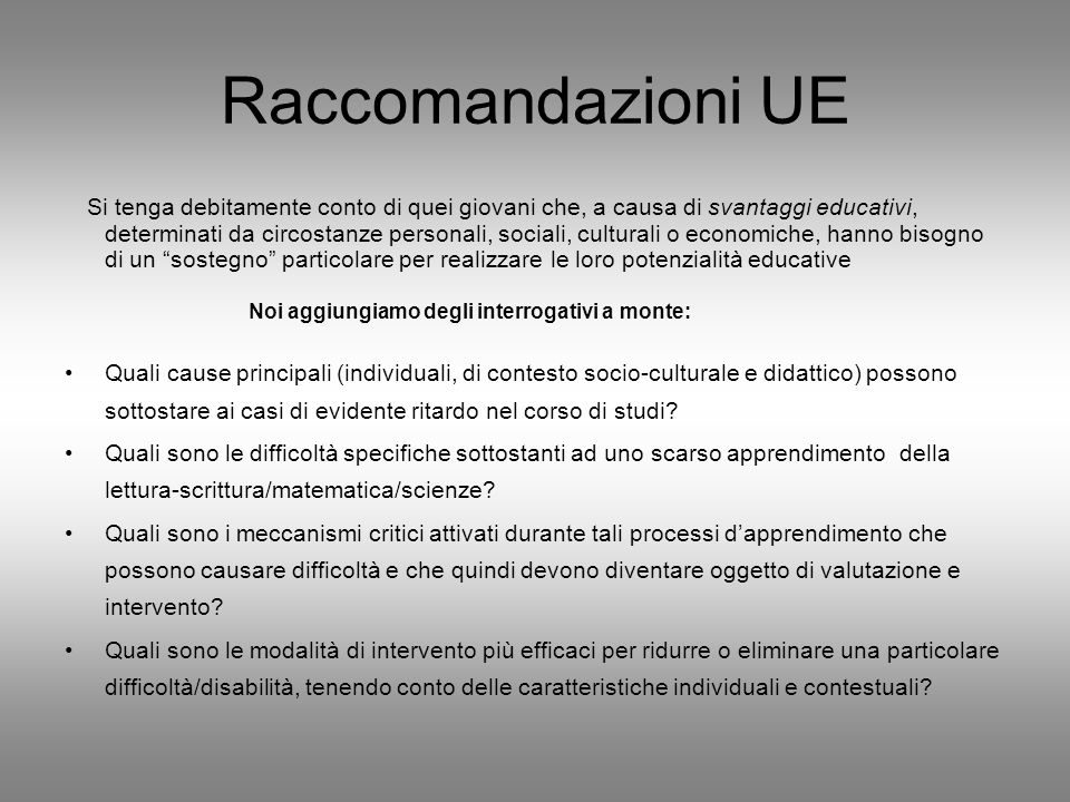 Raccomandazioni UE
