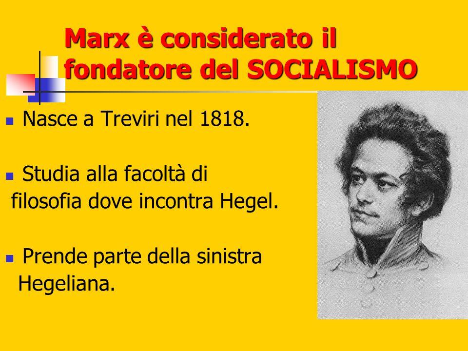 Marx è considerato il fondatore del SOCIALISMO