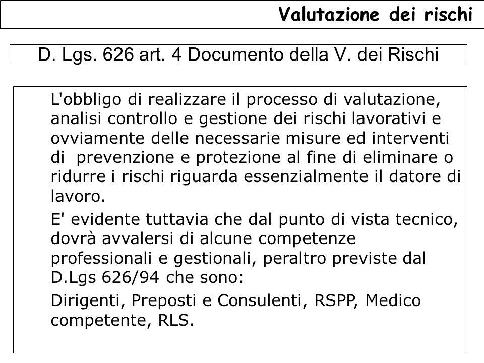 D. Lgs. 626 art. 4 Documento della V. dei Rischi