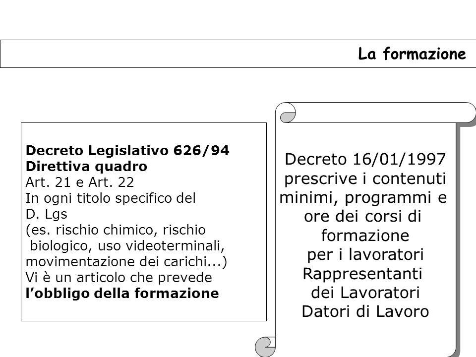 La formazione Decreto 16/01/1997 prescrive i contenuti