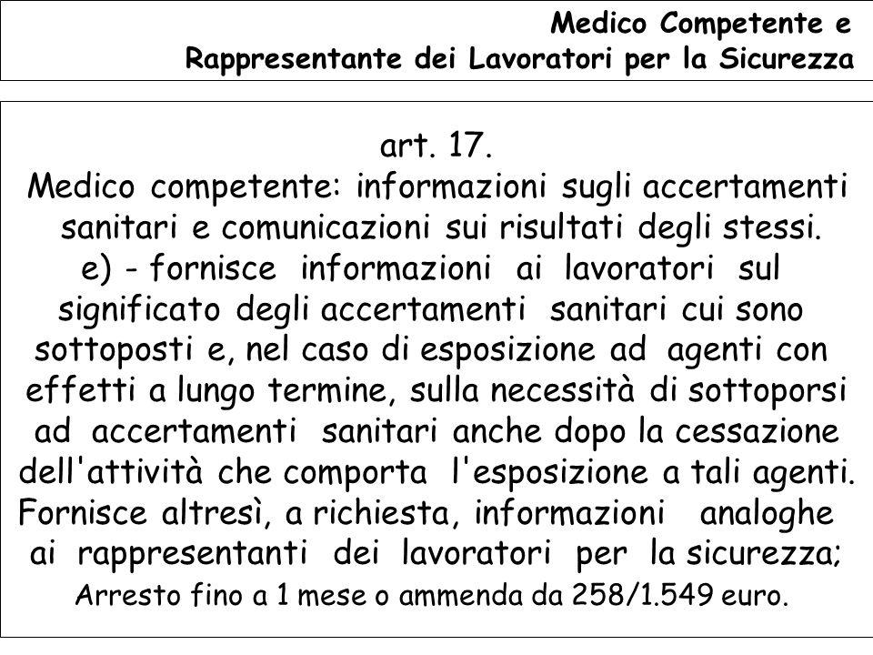 Medico competente: informazioni sugli accertamenti
