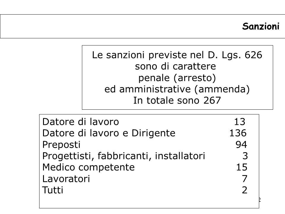 Le sanzioni previste nel D. Lgs. 626 sono di carattere