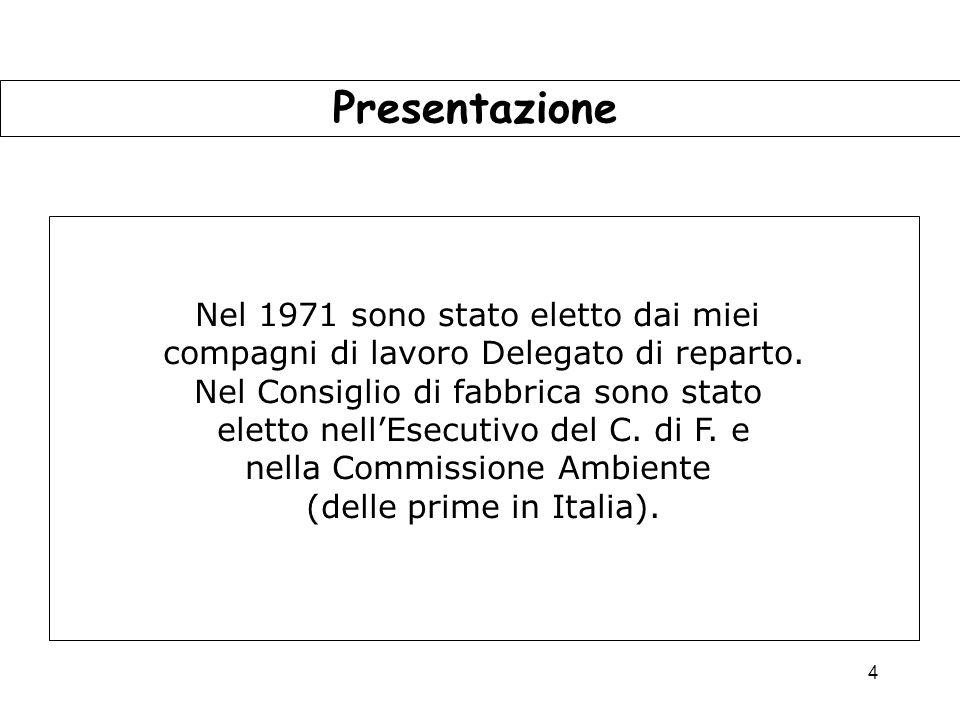 Presentazione Nel 1971 sono stato eletto dai miei