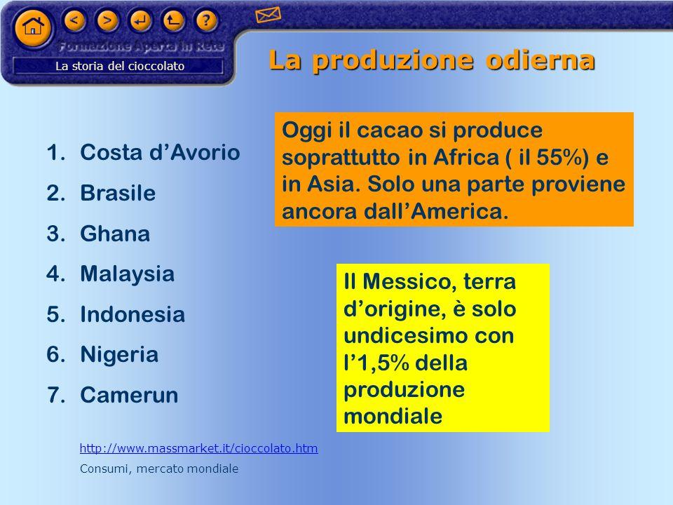 La produzione odierna Oggi il cacao si produce soprattutto in Africa ( il 55%) e in Asia. Solo una parte proviene ancora dall'America.