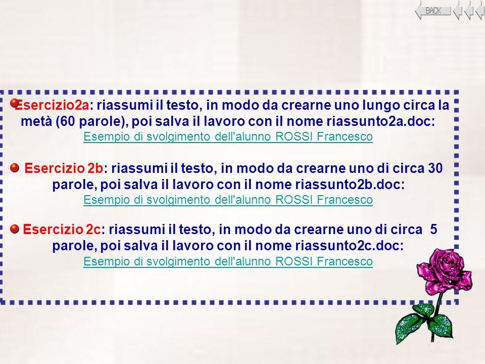 Esempio di svolgimento dell alunno ROSSI Francesco