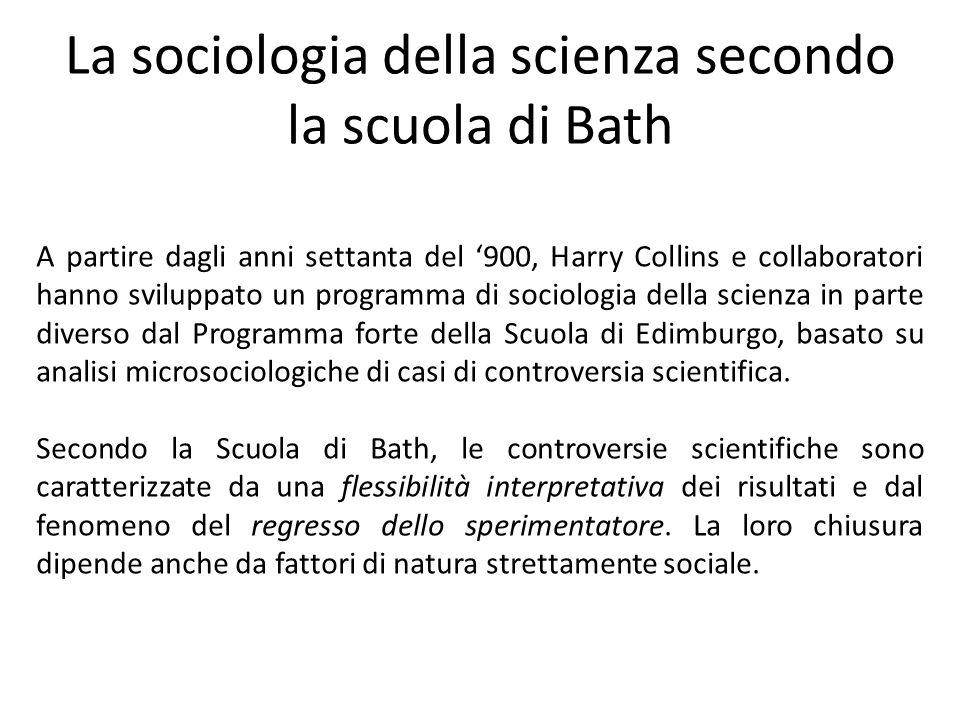 La sociologia della scienza secondo la scuola di Bath