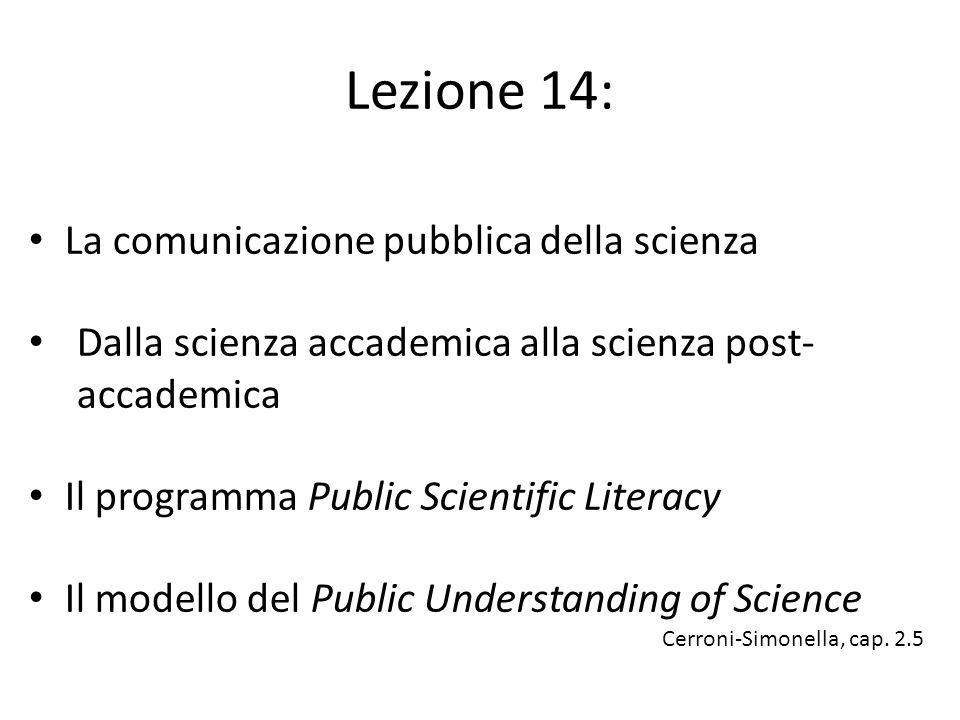 Lezione 14: La comunicazione pubblica della scienza