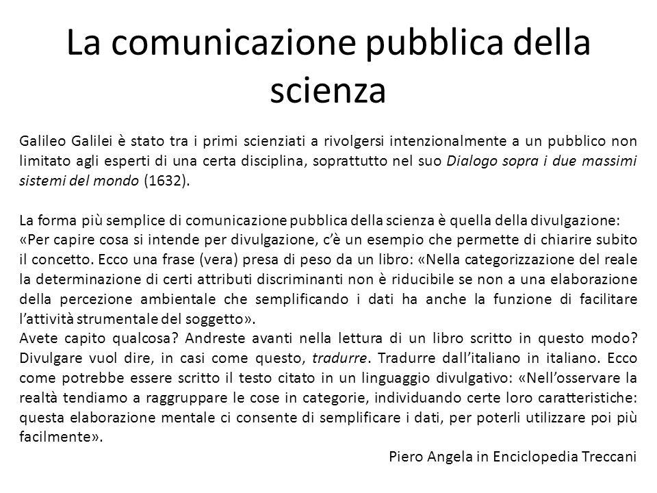 La comunicazione pubblica della scienza
