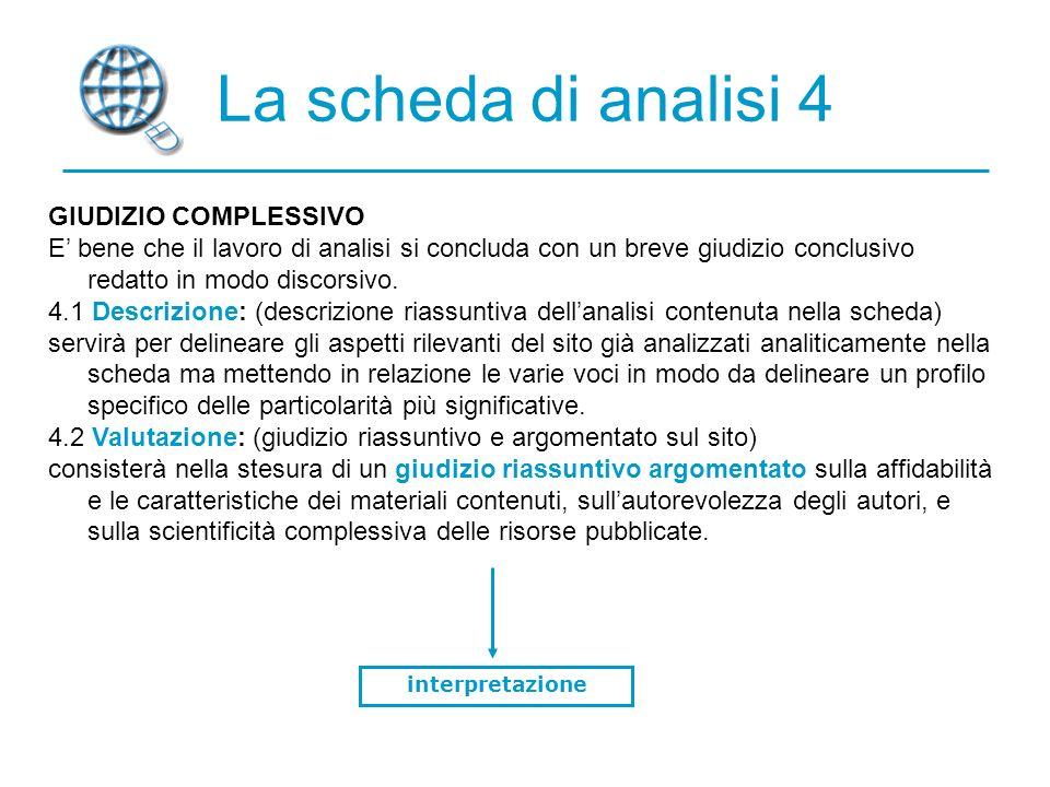 La scheda di analisi 4 GIUDIZIO COMPLESSIVO