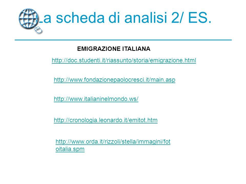 La scheda di analisi 2/ ES.