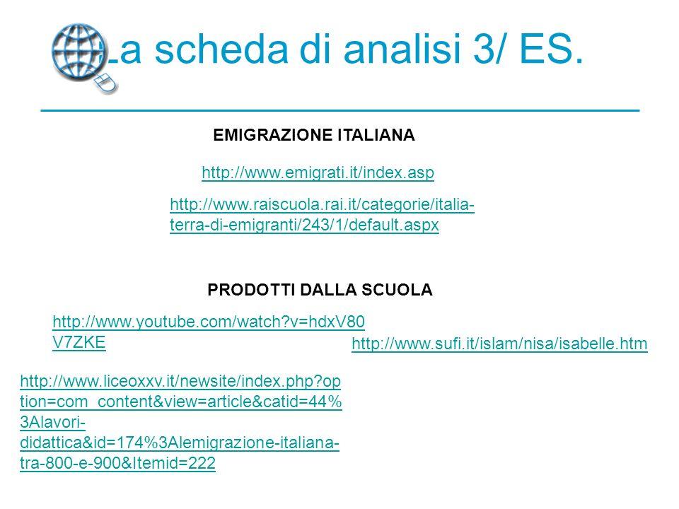 La scheda di analisi 3/ ES.