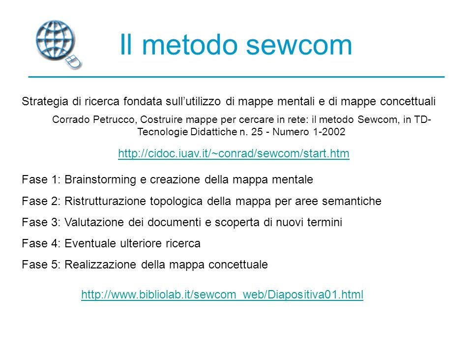 Il metodo sewcom Strategia di ricerca fondata sull'utilizzo di mappe mentali e di mappe concettuali.